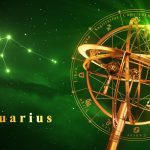Wassermann 2017 Armillary Sphere And Constellation Aquarius Over Green Background