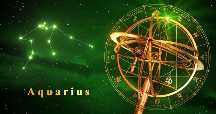 Wassermann 2017 Armillary Sphere And Constellation Aquarius Over Green Background