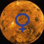 Mondphasen im Venus-Jahr Planet Venus mit Venus-Symbol
